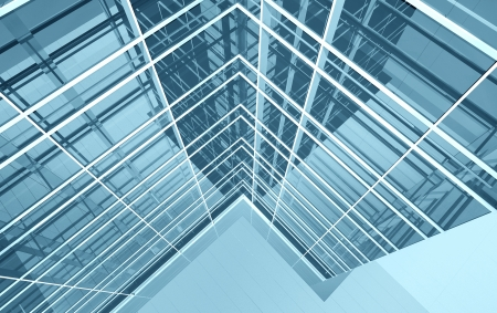 Modern office building facade, high resolution 3d render Stock Photo