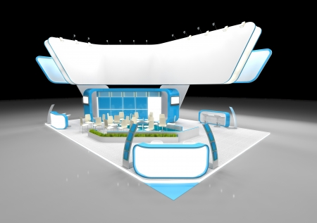 White and blue exhibition stand with large blank banner Stockfoto