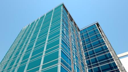 Modern office building facade, high resolution 3d render Archivio Fotografico