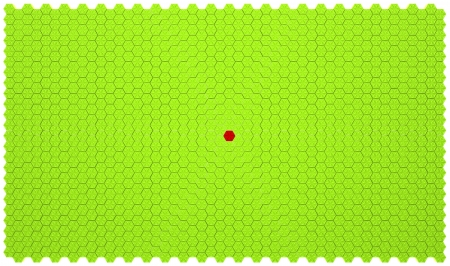 Green background made of embossed hexagons with red one in the centre