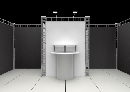 Cylindrical empty podium standing in a small booth Stock Photo - 18996401