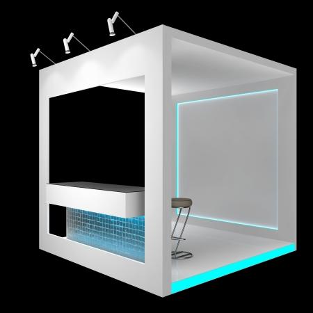expositor: módulo de exhibición blanco con encimera, aislado en negro