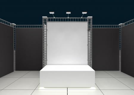 exhibition stand: Empty podium with blank banner and lighting equipment Stock Photo