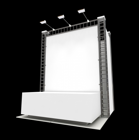 Empty podium with blank banner isolated on black photo