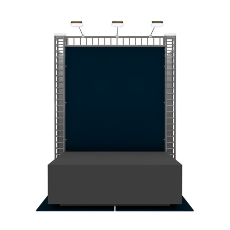 Empty podium with blank banner isolated on white Stock Photo - 18994419