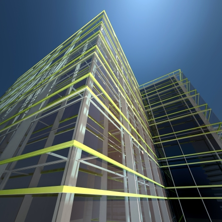glass building: modern cityscape - abstract architectural background Stock Photo