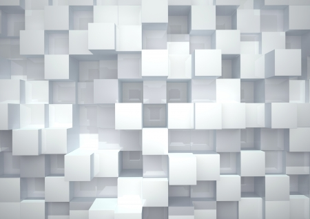 Abstract geometric shape of white glossy cubes
