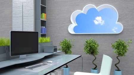 cloudshape: workplace room with computers and wall with cloud-shape window Stock Photo