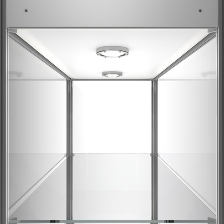 show cases: clear empty showcase - exhibition equipment Stock Photo