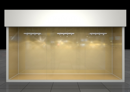 Shop showcase with blank frieze, front glass and lighting equipment  inside, front view