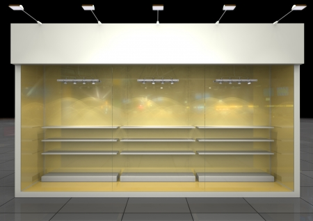 Shop showcase with blank frieze, front glass and shelves  inside, front view photo