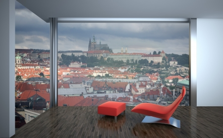 modern interior with laminate flooring and european town outside