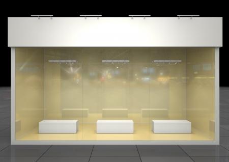friso: exposici�n escaparate iluminado con podios en blanco y el friso