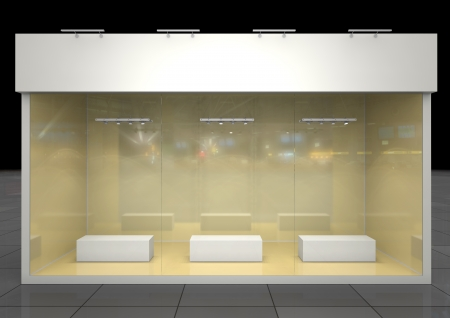 forepart: illuminated exposition showcase with blank podiums and frieze