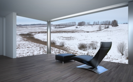 balcony window: Modern interior laminate flooring concept