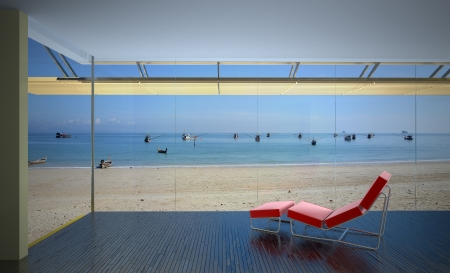 seaview: modern interior with laminate flooring and seaview Stock Photo