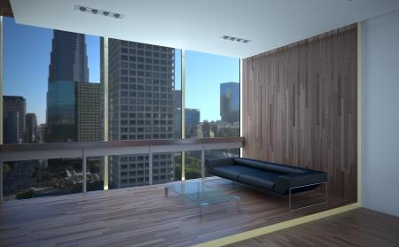 window shade: oficina de sala de recreo interior con piso laminado Foto de archivo