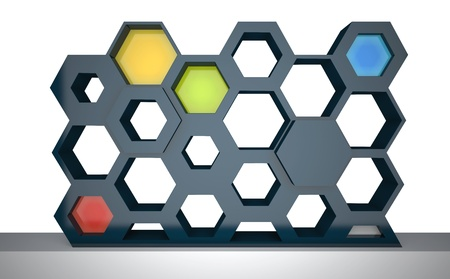 abstract showcase with hexagonal frames, front view photo