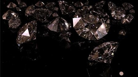 diamonds on black background with lighting