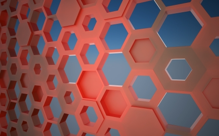 hollow walls: red translucent plastic hexagonal construction