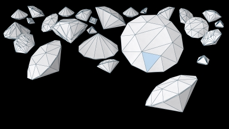 fake diamond: diamond shape objects with accented edges Stock Photo