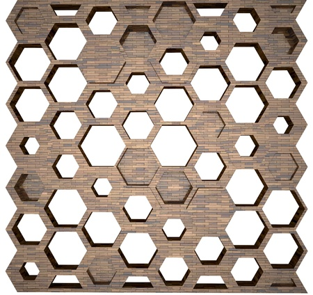 wooden wall with hexagonal shape holes photo