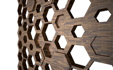 hexagonal shapes abstract wooden background photo