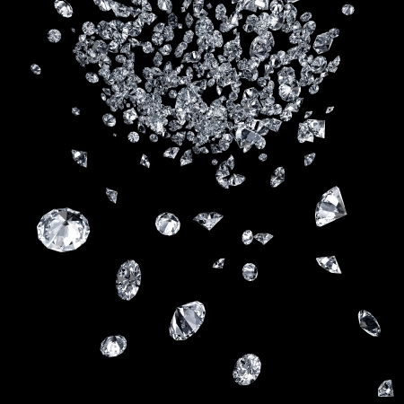 abstract background with diamonds falling down photo