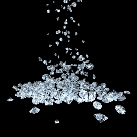 diamond stone: many precious gems falling down