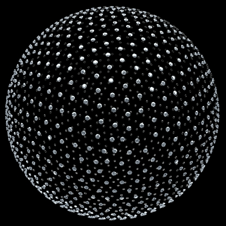 many diamonds forming a three-dimensional sphere Stock Photo