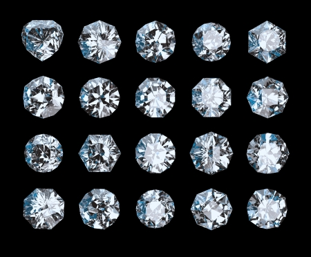 set of crystals isolated on black