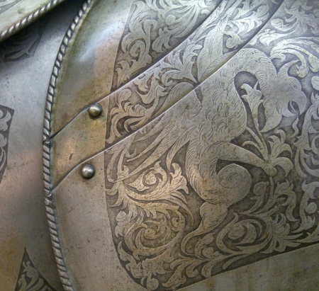 knight helmet: close up view of medieval armor