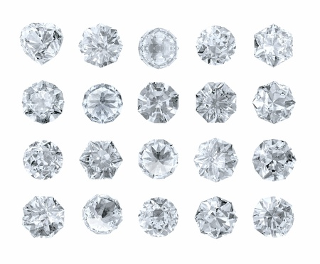set of round shape diamonds isolated on white 写真素材
