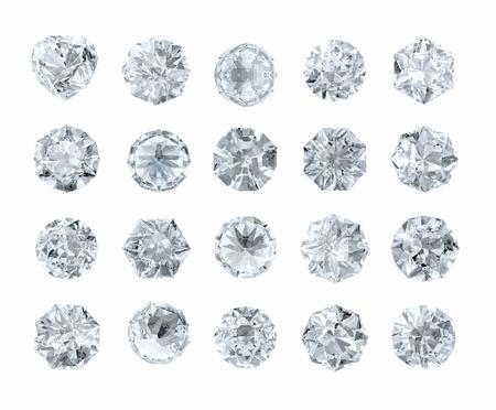 diamond stones: set of round shape diamonds isolated on white Stock Photo