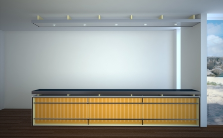 minimalist interior with a long bar Stock Photo - 19137493