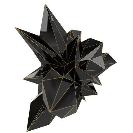 abstract black plastic shape, high resolution 3d render with depth of field