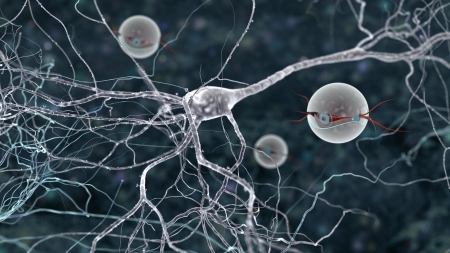 nano bots observing signal transmission between two neurons Stock Photo