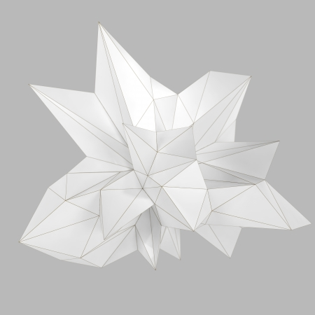 abstract matte white triangular shape isolated on gray photo