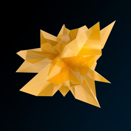 depth: triangular yellow glass shape, high resolution 3d render with depth of field Stock Photo