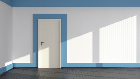 abstract interior with door and laminate flooring