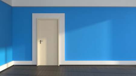 abstract interior withblue walls and laminate flooring Stock Photo - 20340219