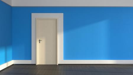 abstract interior withblue walls and laminate flooring Archivio Fotografico