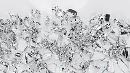 Broken glass crystals closeup view, high resolution 3d render