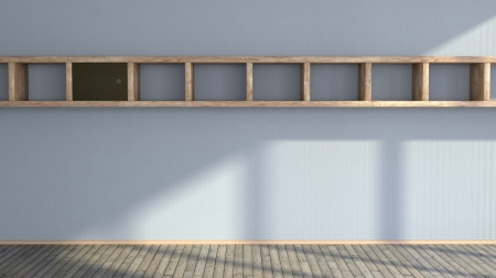 abstract interior wall with long wooden shelf on it