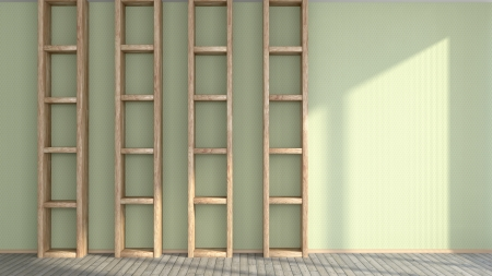 abstract interior with sunlight and vertical wooden shelves Stock Photo - 20340224