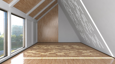 mansard: Empty room interior with mansard windows and laminate wood finishing