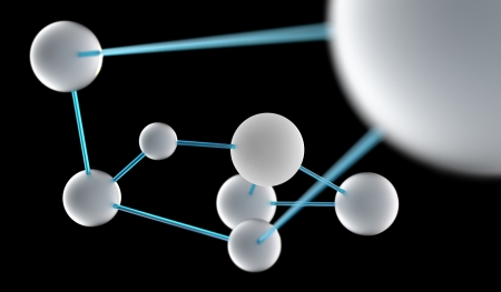 conceptual illustration of spheres connected to one system Stock Photo