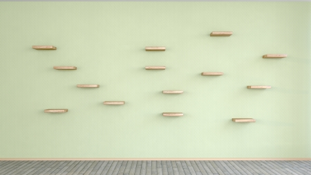 many small wooden shelves on the wall in an abstract interior Stock Photo - 20340225