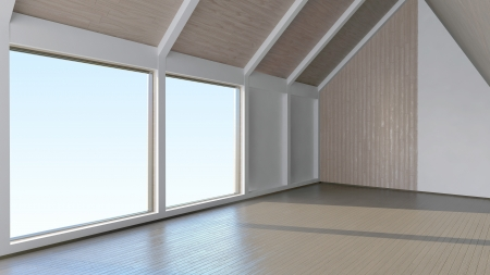 Empty room interior with mansard windows and laminate wood finishing photo