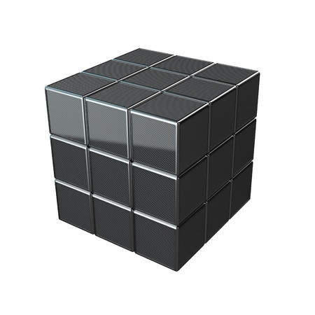 carbonfiber: cube made of high reflected carbon cubes isolated on white Stock Photo